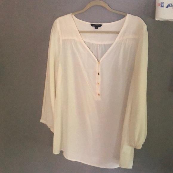 Cream color silk tunic blouse